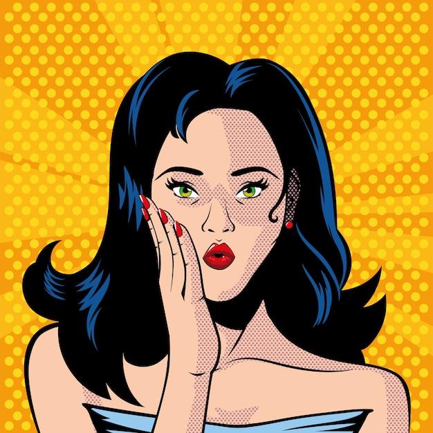 Rostro de mujer hermosa con la boca abierta, sorprendido, diseño de ilustración de estilo pop art