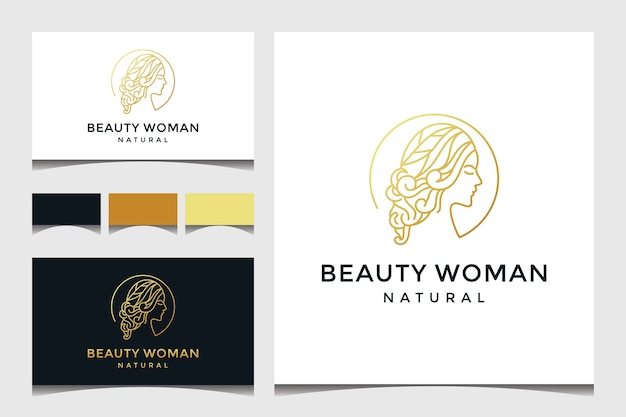 Rostro de mujer hermosa con logotipo de estilo de arte lineal