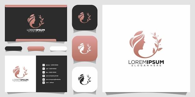 Rostro de mujer con logotipo de arte de línea de hoja y tarjeta de visita