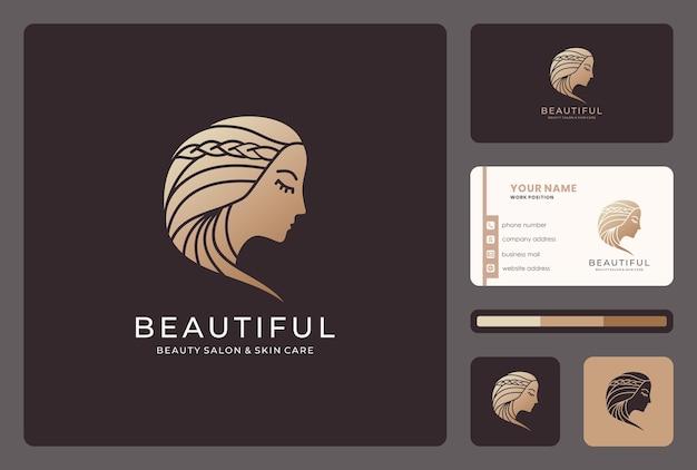 Rostro de mujer, salón de belleza, diseño de logotipo de estilista con plantilla de tarjeta de visita