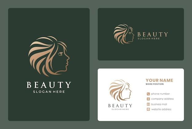 Rostro de mujer, salón de belleza, diseño de logotipo de peluquería con plantilla de tarjeta de visita.