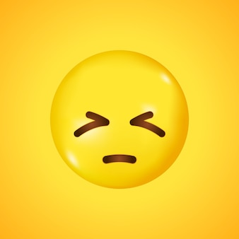 Rostro pensativo, arrepentido, entristecido por la vida. rostro amarillo con ojos tristes, cerrados, cejas fruncidas. gran sonrisa en 3d.