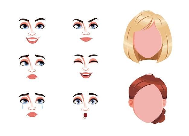 Rostros en blanco y expresiones de mujer.
