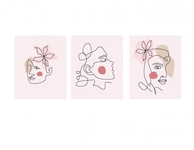 Rostros de chicas en línea de arte moderno estilo de moda. resumen mujer cara una línea. ilustración.
