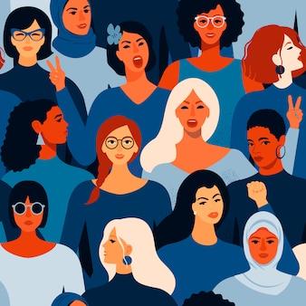 Rostros femeninos diversos de patrones sin fisuras de diferentes mujeres.
