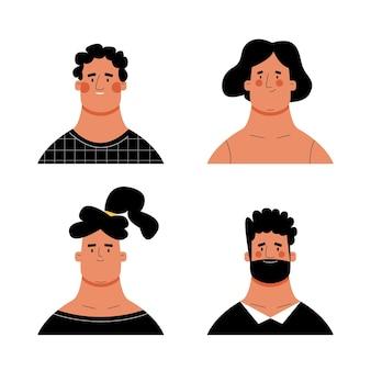 Rostros humanos en estilo moderno dibujado a mano