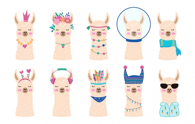 Rostros de linda colección de alpacas. dibujado a mano llamas en estilo escandinavo. conjunto de cabezas de animales graciosos. lama en gafas de sol, unicornio, rey. ilustración