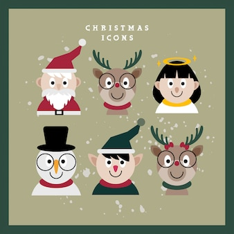 Rostros de personajes navideños