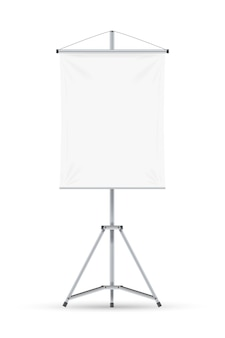 Rotafolio. rotafolio de pizarra en blanco con una hoja de papel vacía en un trípode. marco de rotafolio vertical. concepto de educación, presentación de negocios, conferencias y seminarios