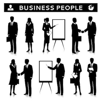 Rotafolios con siluetas de personas de negocios.
