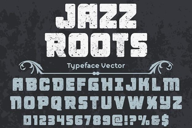 Rotulación artesanal etiqueta diseño jazz raíces