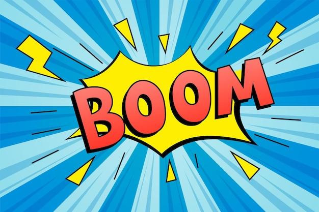 Rotulación boom. efectos de sonido de texto cómico.