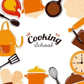 Rotulación y herramientas de cocina alrededor.