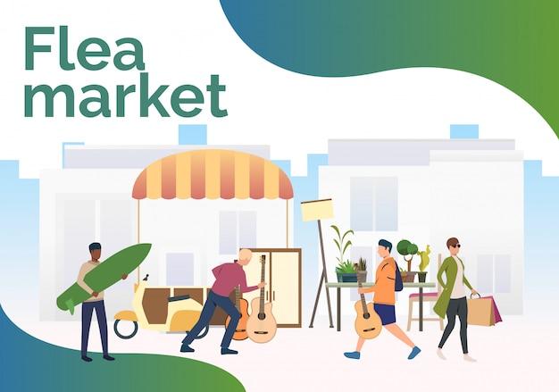Rotulación del mercado de pulgas, gente comprando y caminando al aire libre.