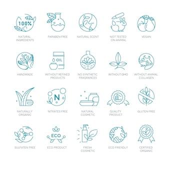 Rótulos y etiquetas de cosméticos naturales y orgánicos.