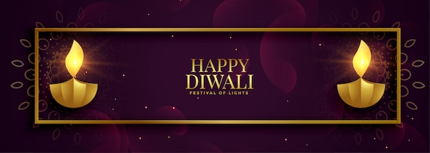Royal premium style happy diwali banner dorado brillante