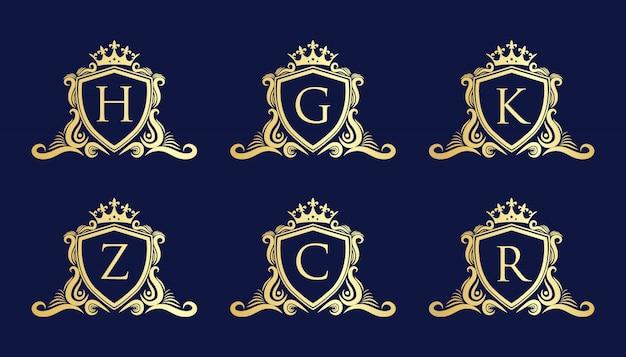 Royal vintage y marco de caligrafía de lujo con plantilla de diseño de logotipo de letras iniciales