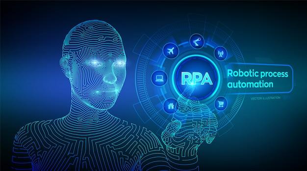 Rpa. automatización robótica de procesos. wireframed cyborg mano tocando la interfaz gráfica digital.