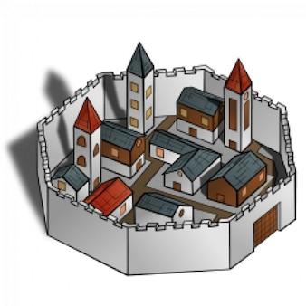 Rpg símbolos del mapa: la ciudad