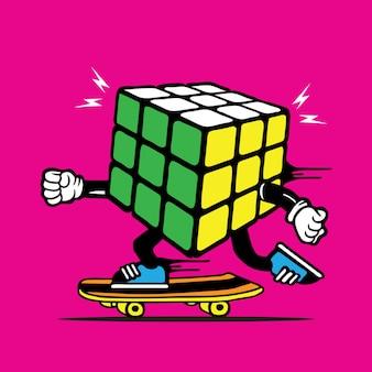 Rubics cube skater skateboard diseño de personajes