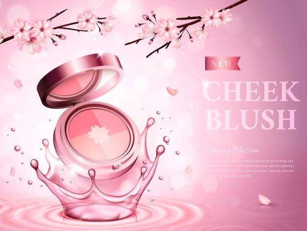 El rubor de mejillas de flor de cerezo contiene un estuche de cosméticos, con flores románticas, fondo rosa