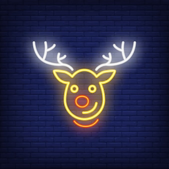Rudolph neon personaje de dibujos animados de renos de navidad. elemento de anuncio brillante de la noche.