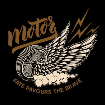 Rueda alada racer. elemento de diseño de cartel, emblema, camiseta.
