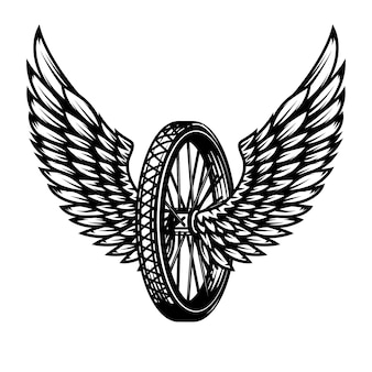 Rueda con alas. elemento para logotipo, etiqueta, emblema, signo, insignia, camiseta, póster. ilustración
