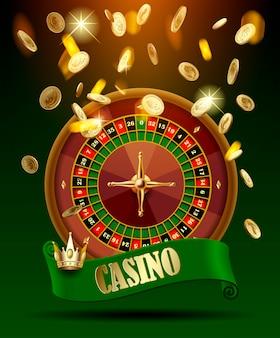 Rueda de casino con cinta verde y corona bajo lluvia de dinero de oro