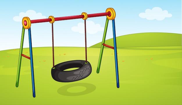 Una rueda de columpio en el parque.