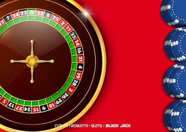 Rueda de ruleta de casino con fichas de casino azul sobre mesa roja