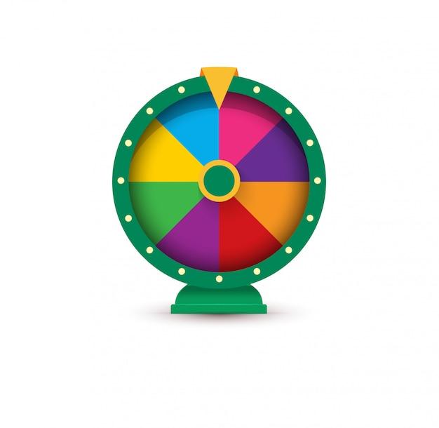 Rueda de la fortuna, concepto de logotipo de juego.