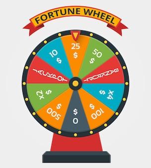 Rueda de la fortuna en estilo plano. rueda de la fortuna, dinero del juego, fortuna, ganador, juego, suerte, rueda de la fortuna, ilustración