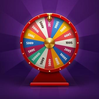 Rueda de la fortuna de giro 3d realista, ilustración de ruleta afortunada.