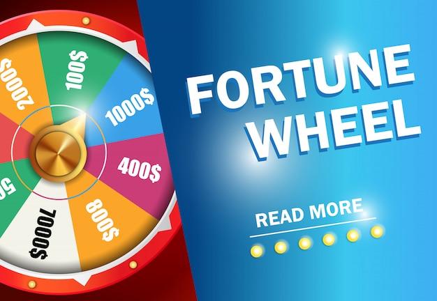 La rueda de fortuna lee más inscripción en fondo azul. publicidad de negocios de casino