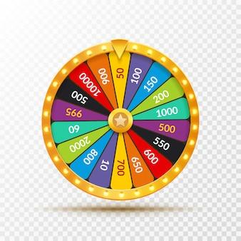 Rueda de la fortuna lotería suerte ilustración. juego de azar de casino. gana la ruleta de la fortuna. juego casual de ocio