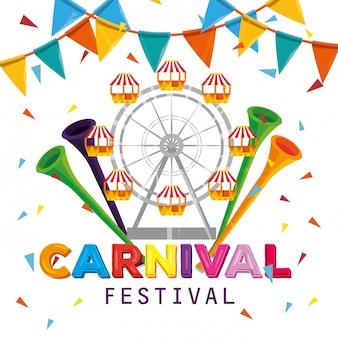 Rueda de la fortuna con trompetas y pancarta de fiesta al carnaval
