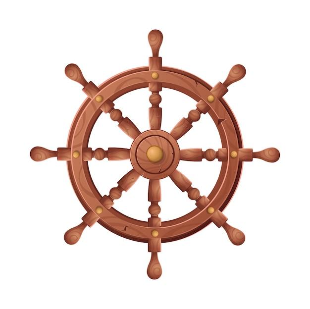 Rueda para ilustración de dibujos animados de barco, sobre fondo blanco.