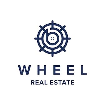 Rueda con letra b para la industria inmobiliaria, diseño de logotipo geométrico moderno simple