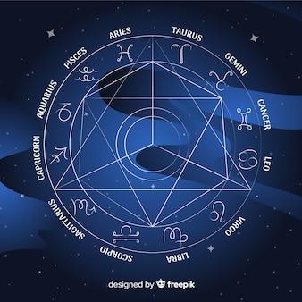 Rueda del zodíaco plana sobre fondo de galaxia