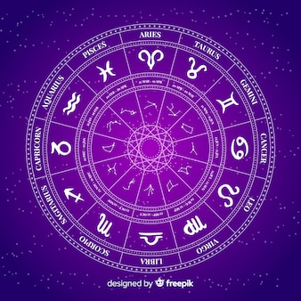 Rueda del zodiaco sobre fondo espacial