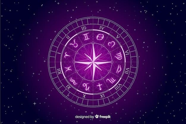 Rueda del zodíaco sobre fondo espacial
