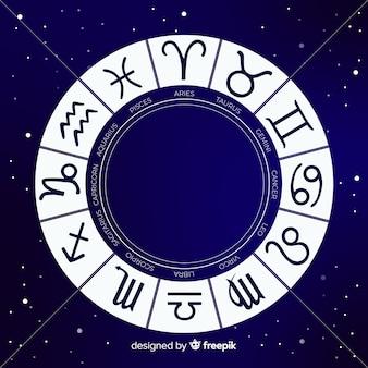 Rueda zodiaco sobre fondo de espacio