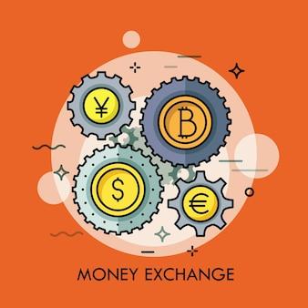 Ruedas dentadas con monedas de diferentes monedas en el centro.
