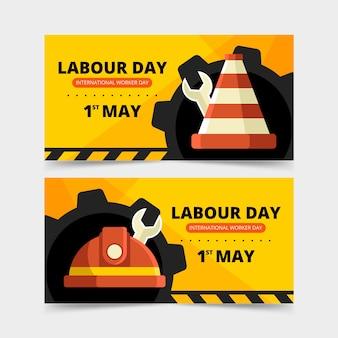 Ruedas mecánicas y herramientas bandera del día del trabajo