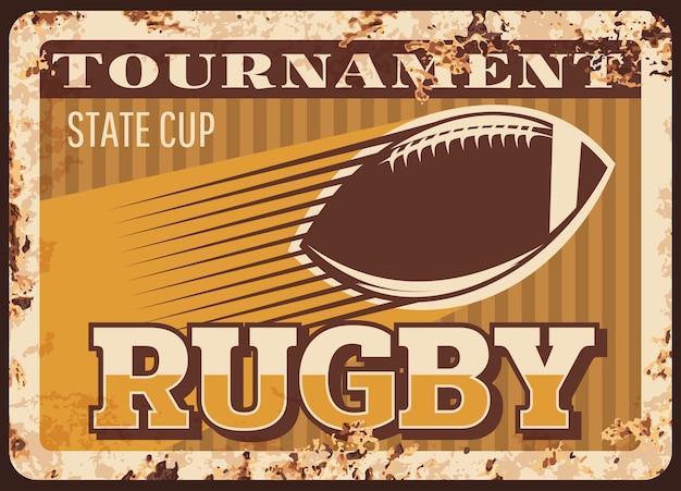 Rugby fútbol americano placa de metal oxidado, cartel retro de pelota deportiva.