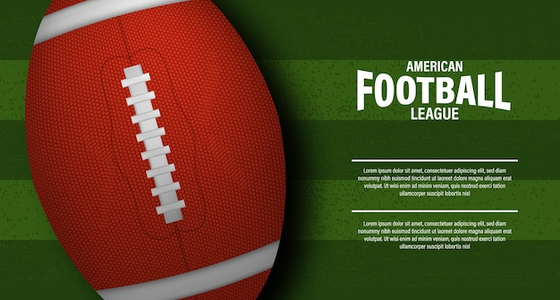 Rugby de pelota ovalada 3d o fútbol americano en la vista superior del estadio de campo verde para la plantilla de póster de volante de super bowl de liga de campeonato de deporte