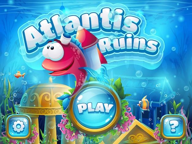 Ruinas de atlantis con cohete de pescado - ilustración vectorial para el juego.