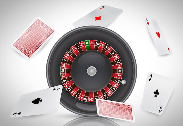 Ruleta de casino y ases voladores. publicidad de negocios de casino