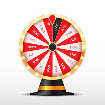 Ruleta giratoria, diseño de póster del juego de lotería. bombillas de jackpot big win brillando.